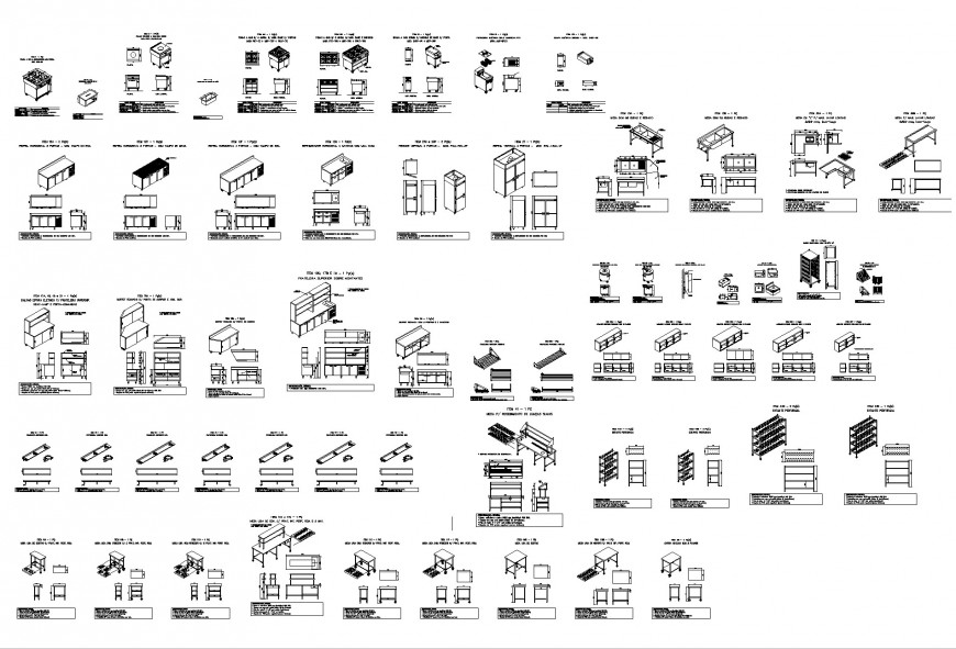 Industrial kitchen equipment plan and section dwg file