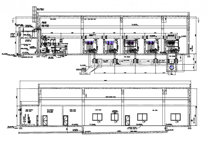 Industrial layout plan with elevation design