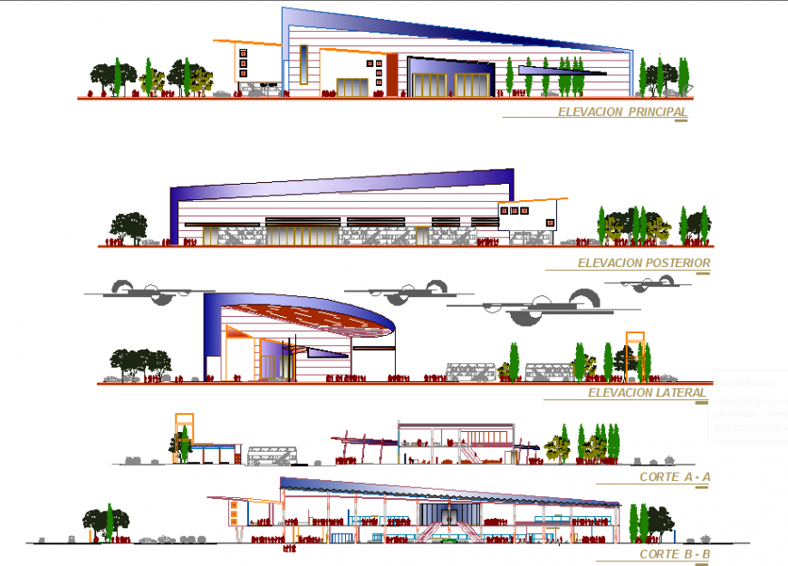 Industrial office shade elevation drawing in dwg file.