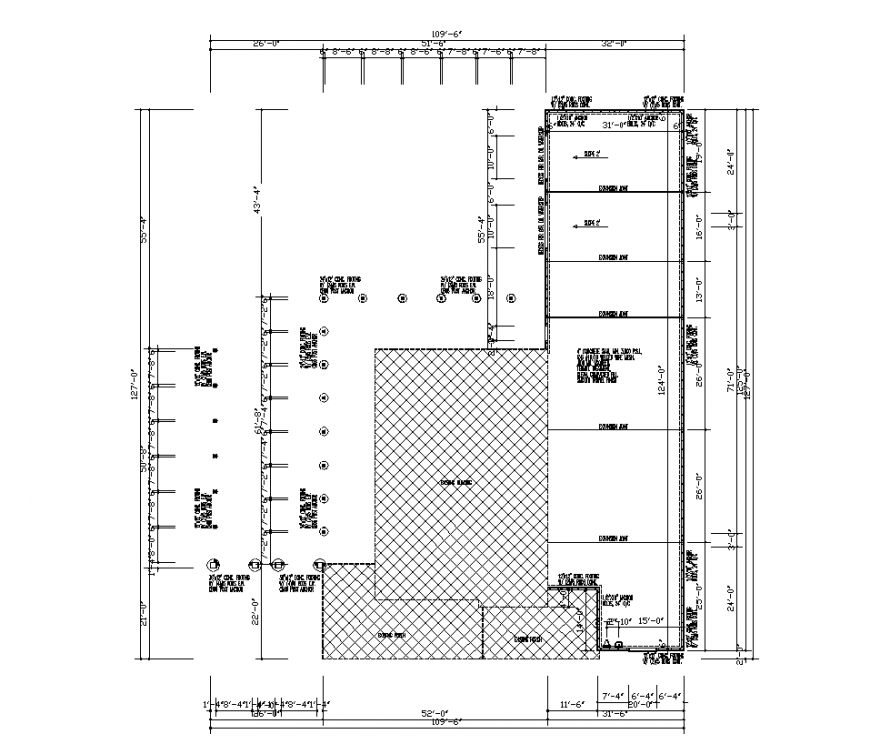 Industrial plan design with architectural detail dwg file