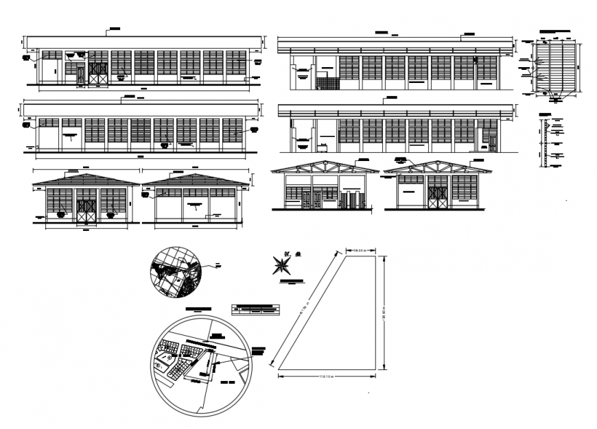 Industrial plant storage house all sided elevation and sectional details dwg file