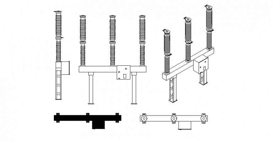 Industrial switch detail drawing in dwg AutoCAD file.