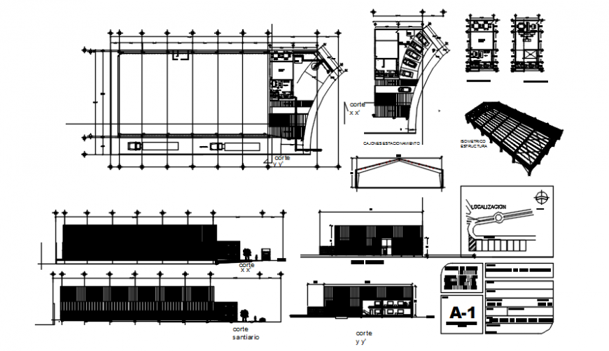 Industrial ware house plan elevation with sectional and isometric detail in auto cad file