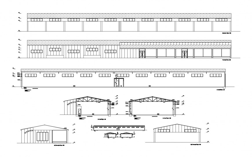 Industrial warehouse all sided elevation and section cad drawing details dwg file