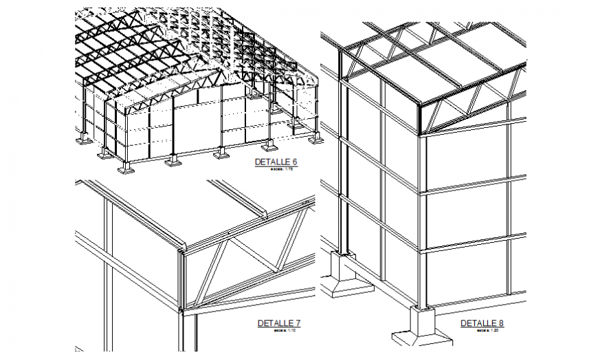 Industrial warehouse constructive sectional details dwg file