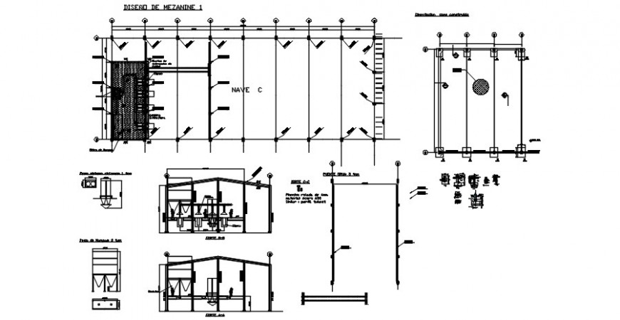 Industrial warehouse section and structure details dwg file