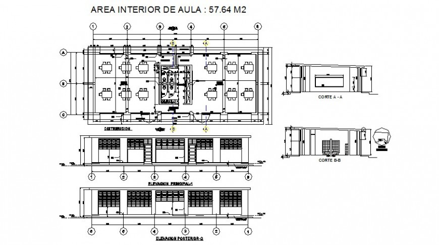 Initial education building elevation, section and plan cad drawing details dwg file