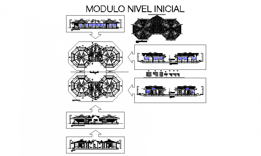Initial education center all sided elevation, section, floor plan and cover plan details dwg file