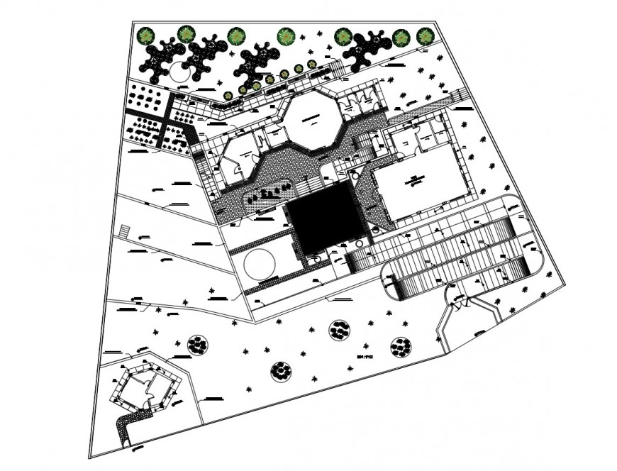 Initial garden layout plan and landscaping structure drawing details dwg file