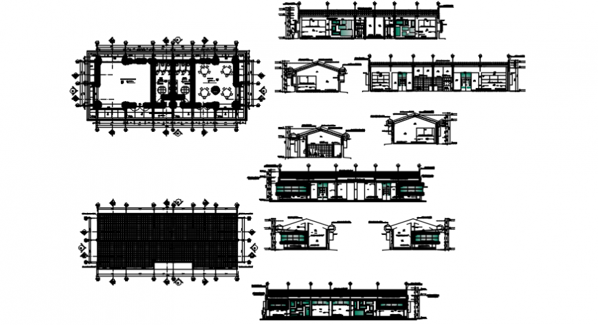 Initial plan of hotel and elevation in auto cad file