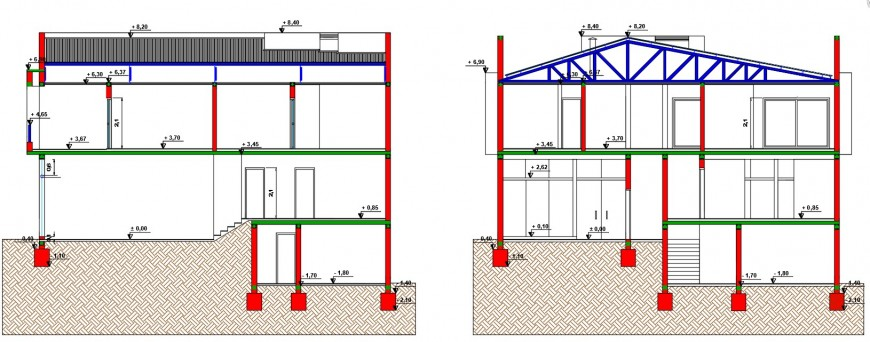 Inner sectional detail of a commercial and housing building file