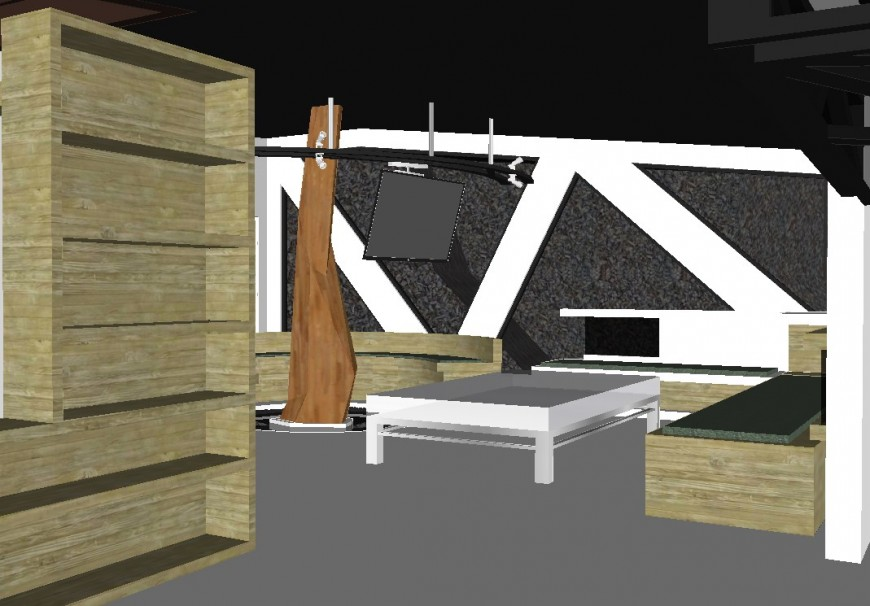 Inner view of a house and furniture detail in 3d
