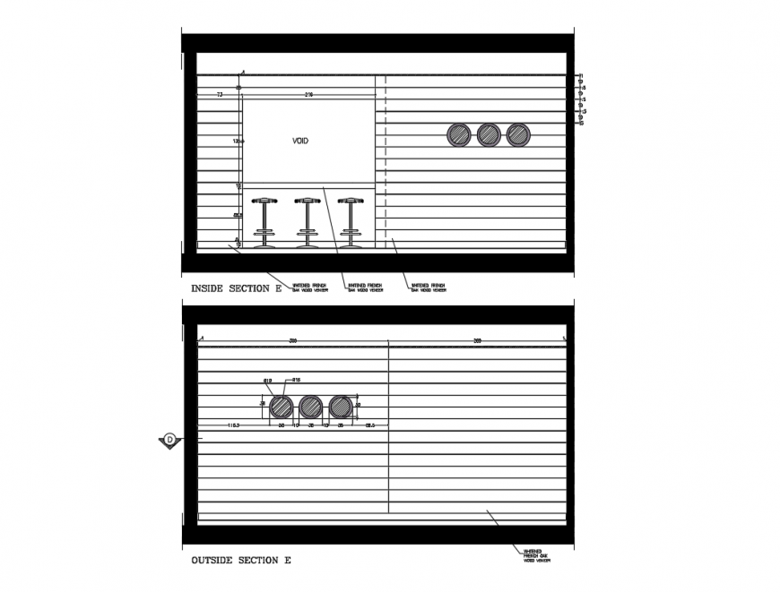 Inside and outside Section plan of Kitchen layout drawing of the house dwg file