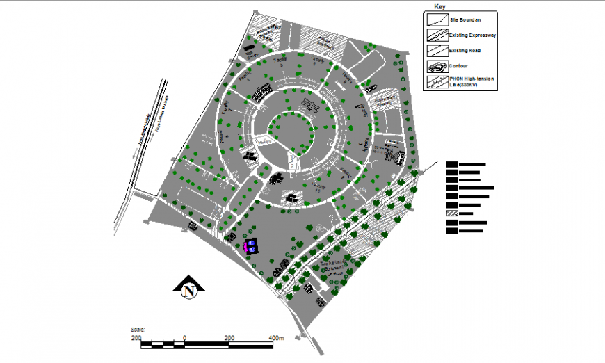 Institutional building general plan and landscaping structure details dwg file