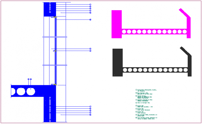 insulated concrete wall detail with construction view dwg file