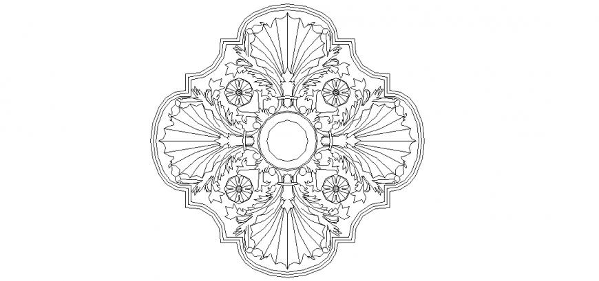 Interior design in view of flower shape pattern in block dwg file