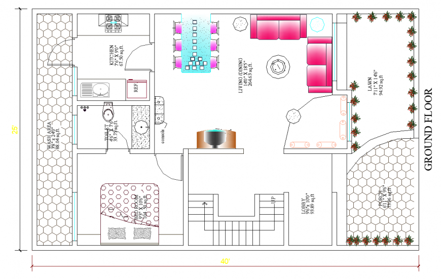Interior design plan of ground floor of the bungalow in dwg AutoCAD file.