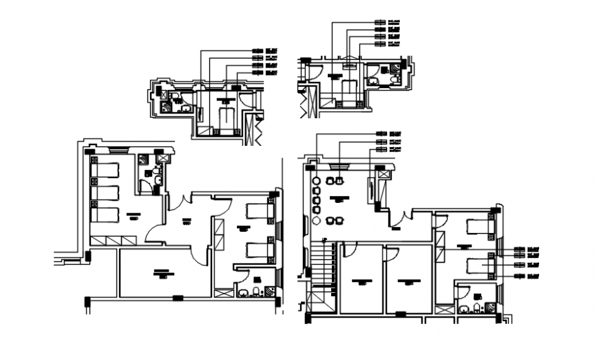 Interior detail in plan of bungalows auto cad file