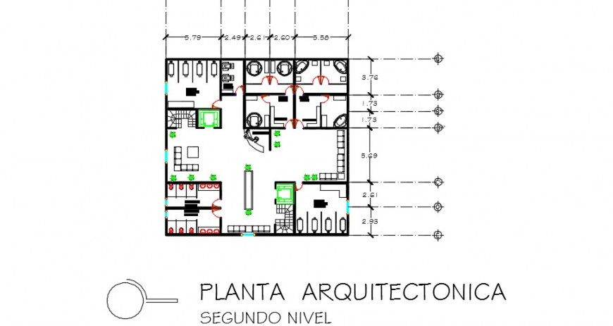 Interior detailing layout plan of a fitness center dwg file