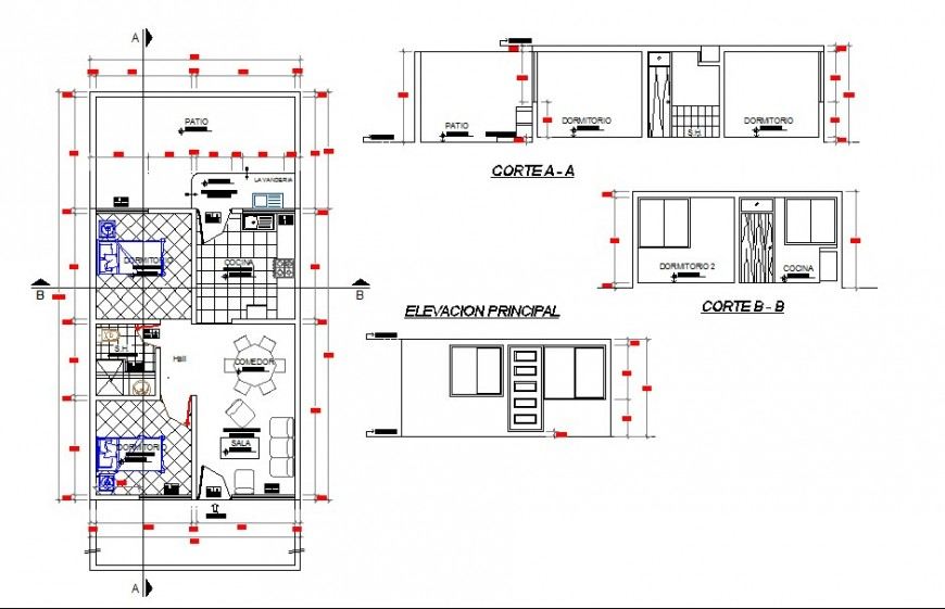 Interior furniture top view layout with sections