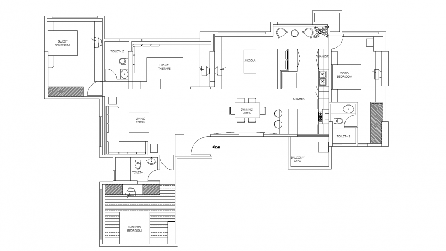 Interior layout plan of the house in dwg AutoCAD file.