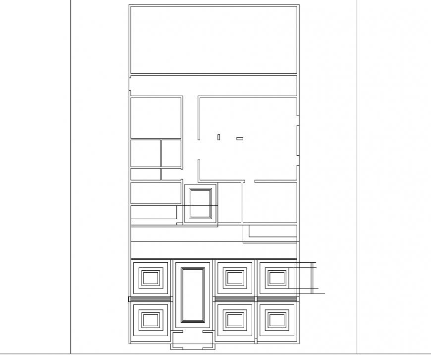Interior motel plan detail dwg file.