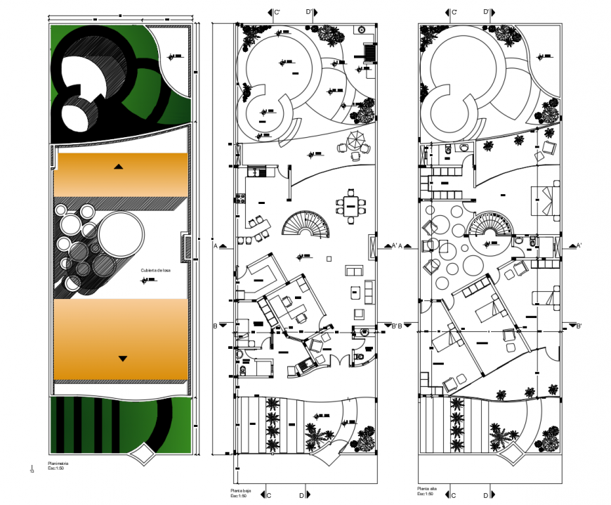 Interior plan of the residential house 2d view autocad file