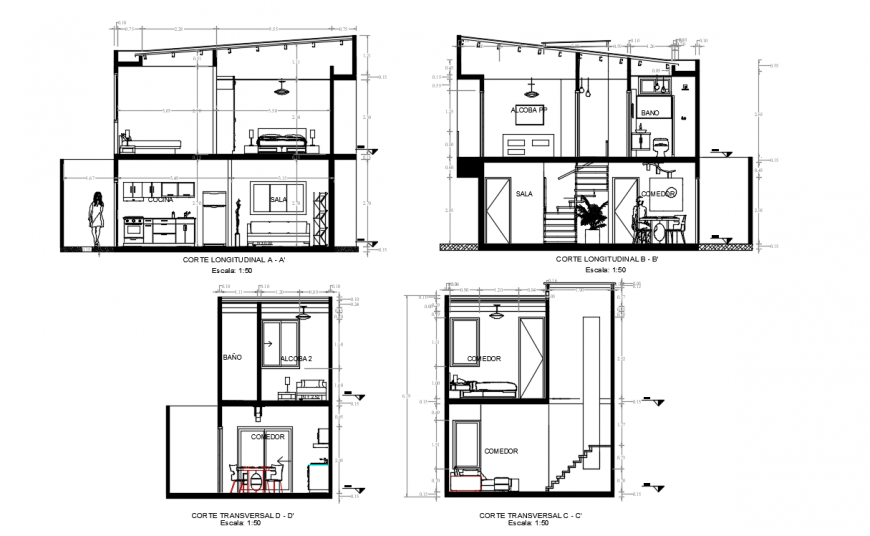 Interior project detailing of a bungalow dwg file