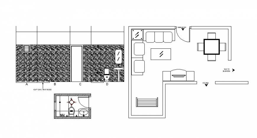 Interior sectional furniture detailing and elevation of bathroom