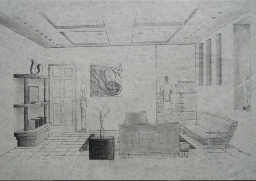 Interior sketch detail of a house detail