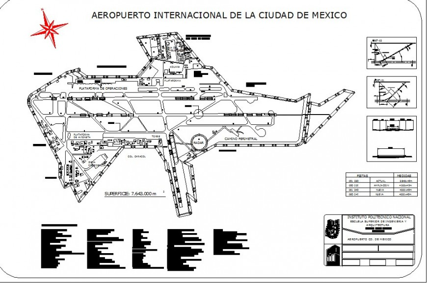 International airport detail 2d view layout file in autocad format