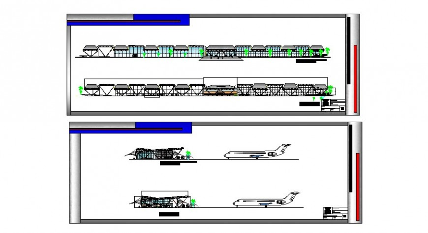 International airport all sided elevation and section cad drawing details dwg file