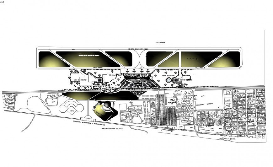 International airport architecture layout plan and landscaping structure details dwg file
