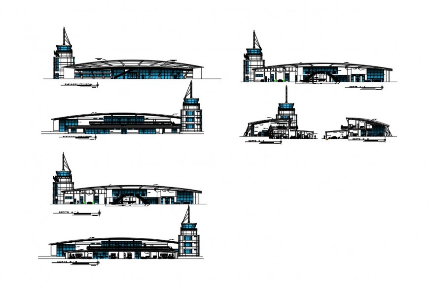 International airport building all sided elevation and sectional details dwg file