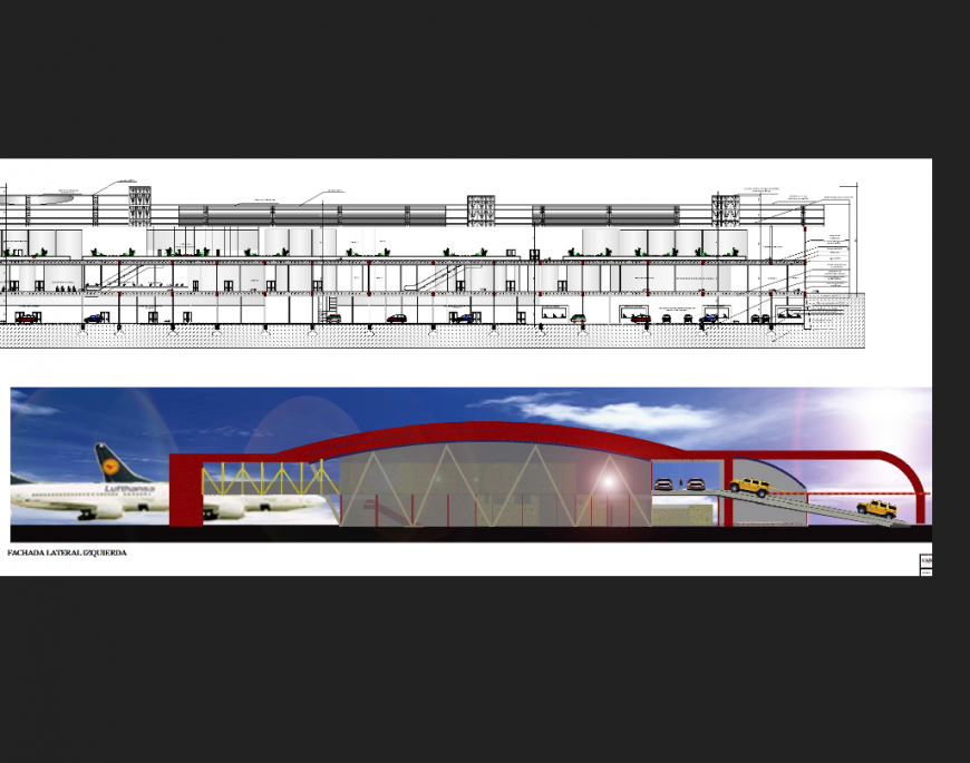 International airport building facade elevation and sectional details dwg file