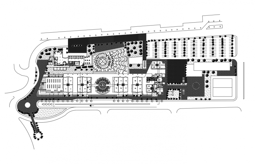 International airport building landscaping distribution plan cad drawing details dwg file