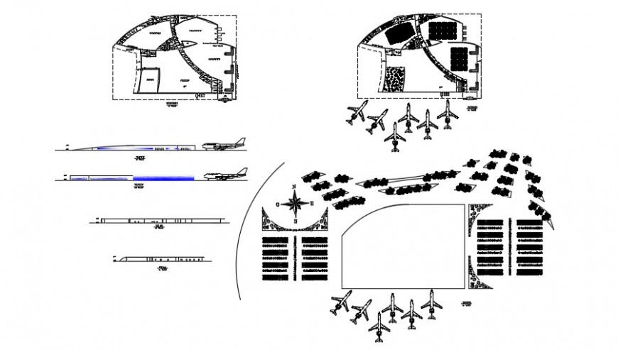 International airport elevation, section and floor plan drawing details dwg file