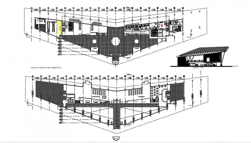 International airport floor plan distribution and structure drawing details dwg file