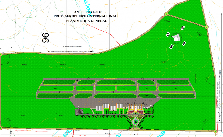 International airport general layout plan cad drawing details dwg file
