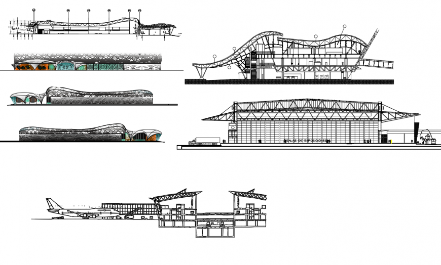 International airport of Brasil all sided elevation and section drawing details dwg file