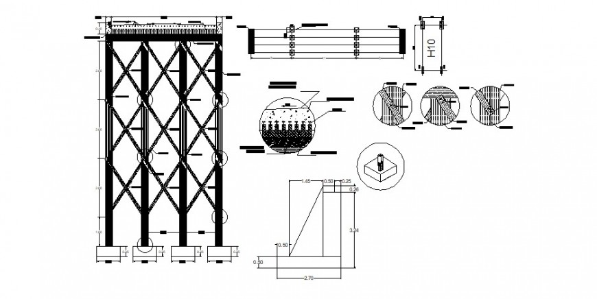 Iron gate section and installation cad drawing details dwg file