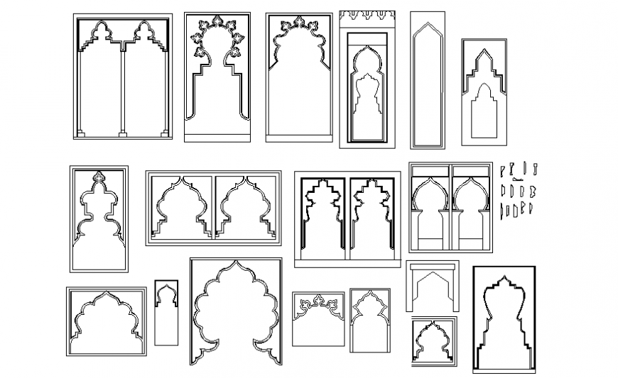 Islamic arches doors elevation blocks cad drawing details dwg file