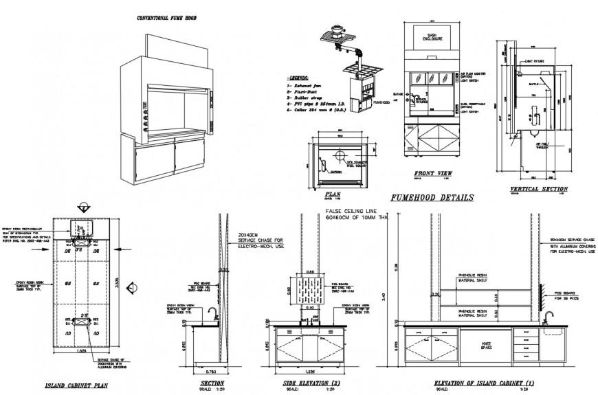 Island cabinet plan AutoCAD file