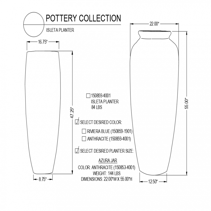 Islets pottery design with detail and isometric view dwg file