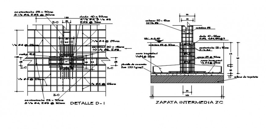 Isolated footings section and construction details dwg file