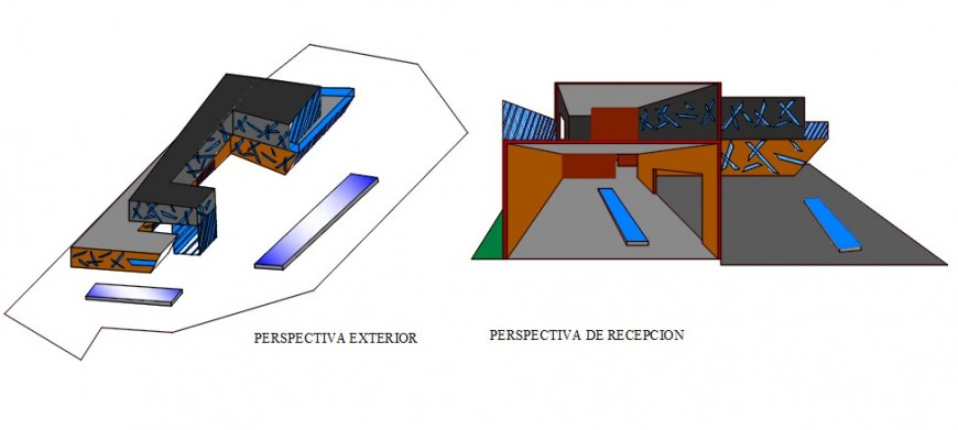 Isometric and perspective elevation details of government modern art museum dwg file