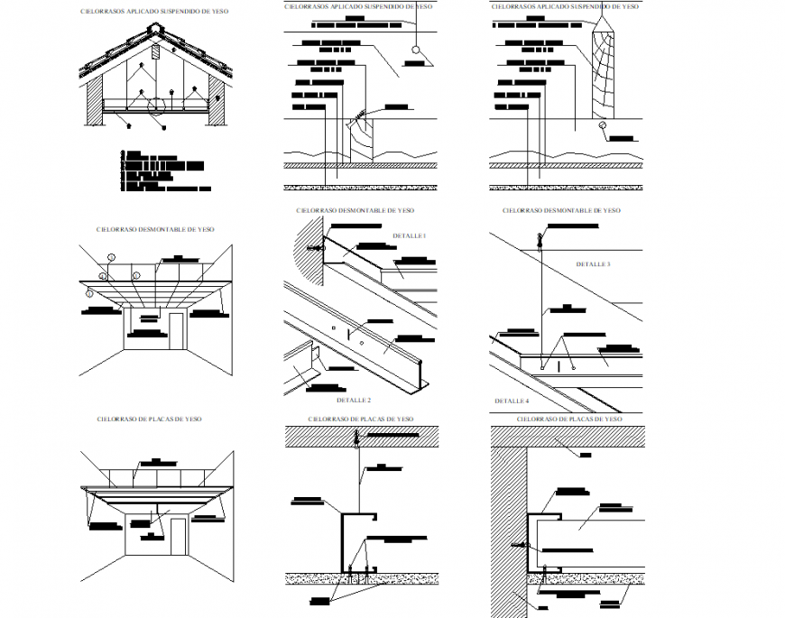 Isometric Ceiling plan and section auotcad file