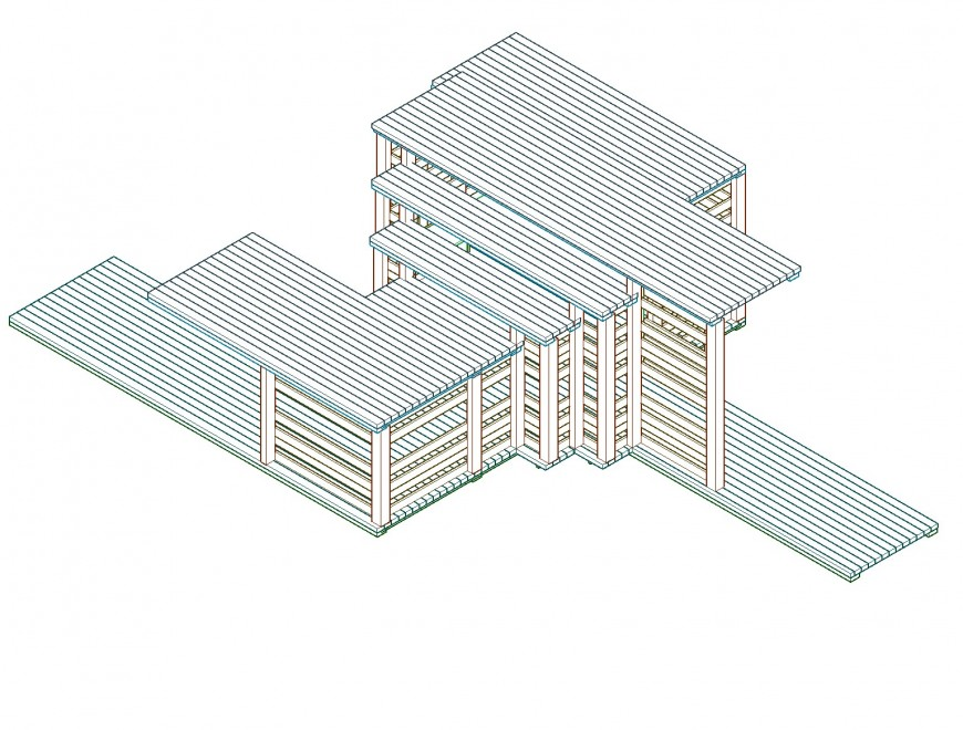 Isometric commercial building plan autocad file