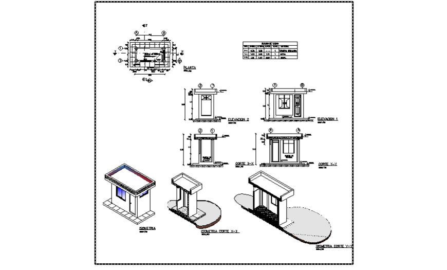 Isometric drawing & detail drawing of control house design drawing