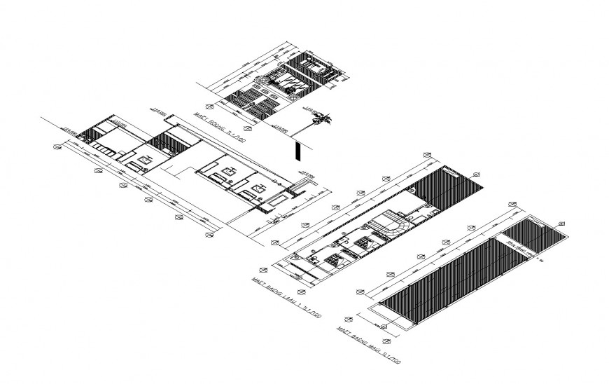 Isometric elevation, section and floor plan of corporate building cad drawing details dwg file